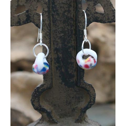 Handmade Sterling Silver and Confetti Glass Water Drop Earrings