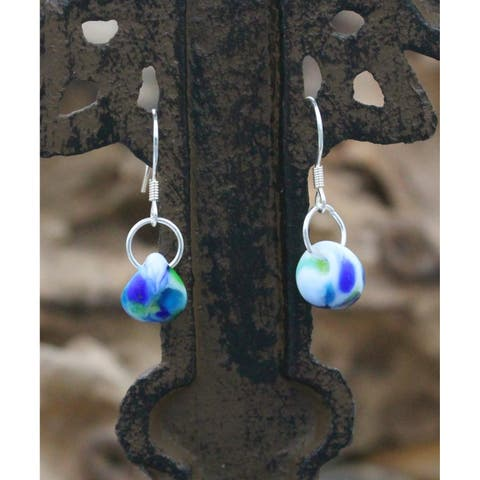 Handmade Sterling Silver and Confetti Blue Glass Water Drop Earrings