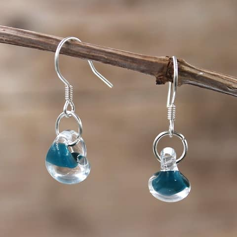 Handmade Sterling Silver and Teal Glass Water Drop Dangle Earrings