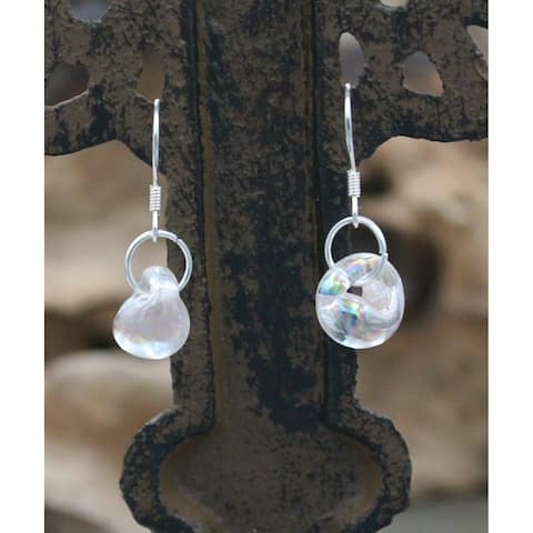 Handmade Sterling Silver and Rose Blush Glass Water Drop Earrings