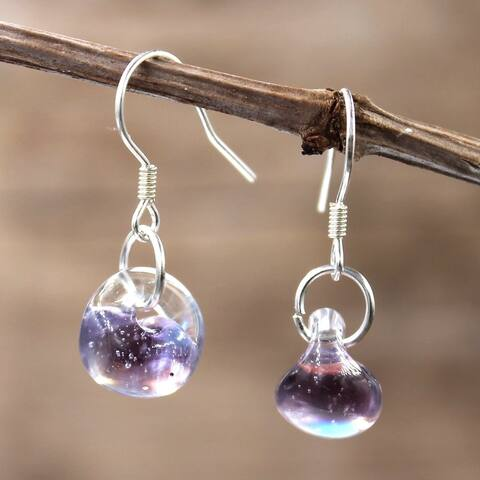 Handmade Sterling Silver and Luster Purple Glass Water Drop Earrings