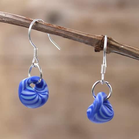 Handmade Sterling Silver and Ocean Waves Glass Water Drop Earrings