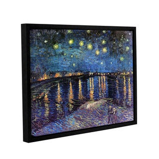 ArtWall 'Vincent VanGogh's Starry Night Over the Rhone' Gallery Wrapped Floater-framed Canvas - Multi (As Is Item)