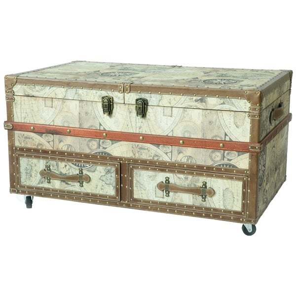 Old World Map Print Coffee End Table and Wine Bar Trunk