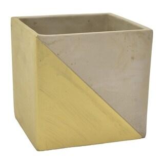 """Three Hands 5.5 """" Flower Pot - Gray & Gold - Gold"""