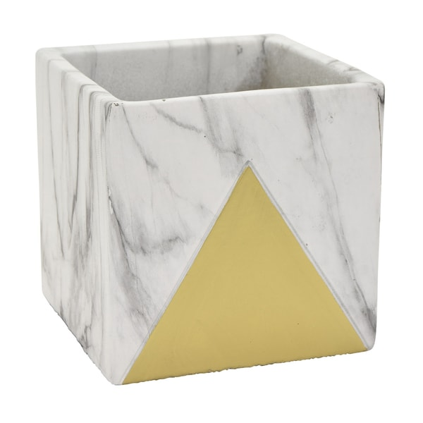 """Three Hands 4.75 """" Flower Pot - Marble Look Gold - Gold"""