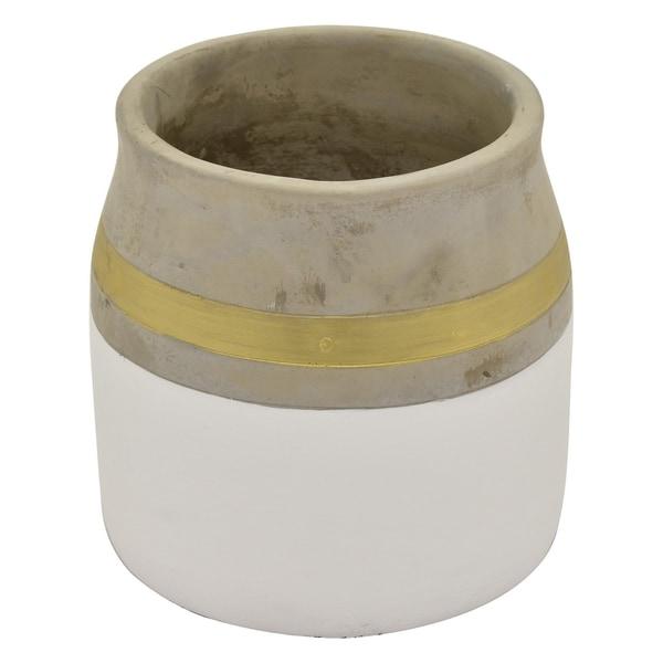 "Three Hands 6.75 "" Flower Pot - White & Gold - White"