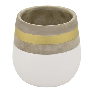 "Three Hands 7.25 "" Flower Pot - White & Gold - White"