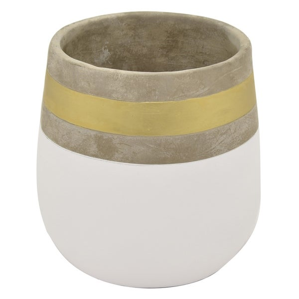 Three Hands White/Goldtone Clay 9-inch Flower Pot