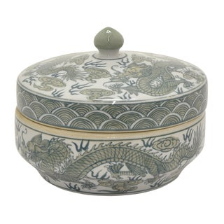 Three Hands Green/White Ceramic Jar