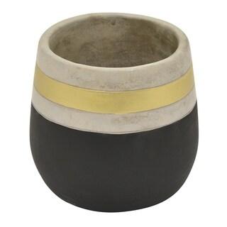 Three Hands Black/Goldtone Terracotta Clay Flower Pot