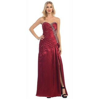 Strapless Evening Gown With Thight High Slit