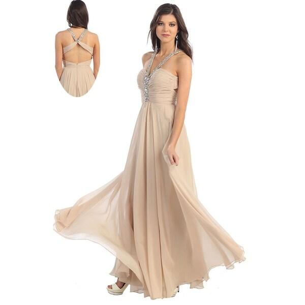 Simple Halter Evening Dress