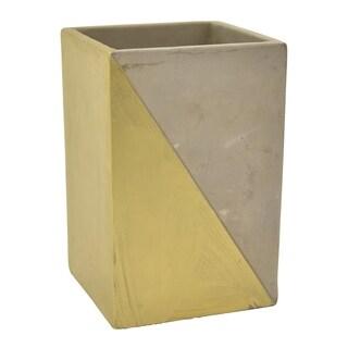 """Three Hands 7 """" Flower Pot - Gray & Gold - Gold"""