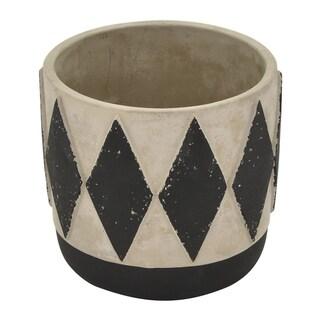 """Three Hands 5.5 """" Flower Pot - Gray & Black - Gray"""