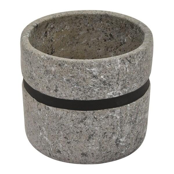"""Three Hands 5.5 """" Flower Pot Gray & Black - Gray"""