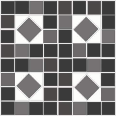 "Floor Adorn Adhesive Decorative and Removable Vinyl Floor Tiles, Black & White Mosaic, 12""x12"", Set of 36 Tiles"