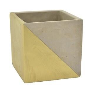 """Three Hands 4.75 """" Flower Pot - Gray & Gold - Gold"""