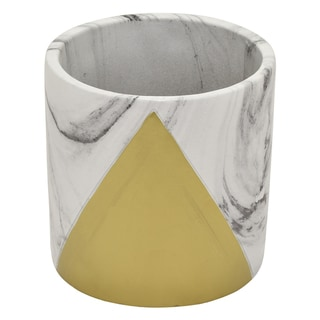 """Three Hands 6 """" Flower Pot - Marble Look Gold - Gold"""