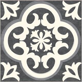 "Floor Adorn Adhesive Decorative and Removable Vinyl Floor Tiles, Vintage Tiles, 12""x12"", Set of 36 Tiles"