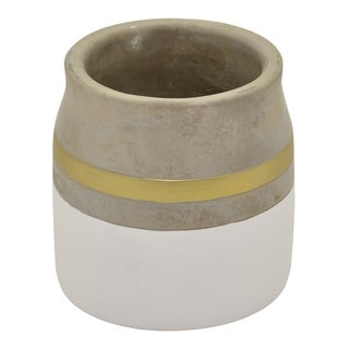 "Three Hands 5.25 "" Flower Pot - White & Gold - White"