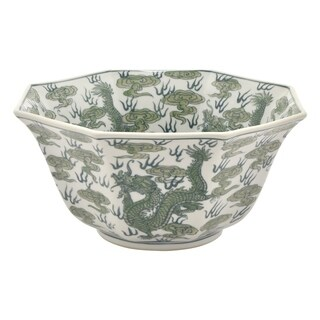 Three Hands Green and White 6-inch Ceramic Bowl