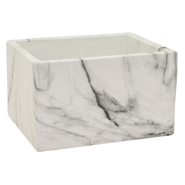 "Three Hands 4 "" Flower Pot - Marble Look - White"