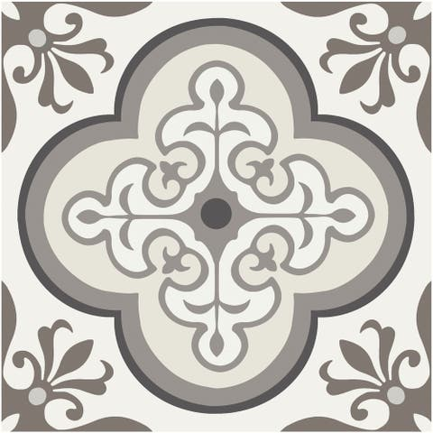 """Floor Adorn Adhesive Decorative and Removable Vinyl Floor Appliques, Neutral Traditional, 12""""x12"""", Set of 6"""