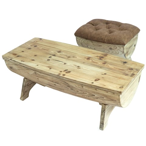 Vintage Wooden Storage Bench with Leather Tufted Top