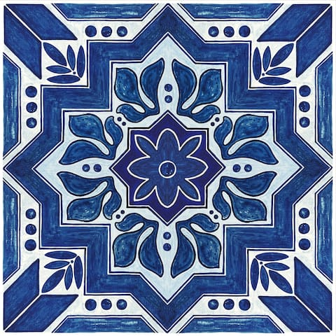 "Floor Adorn Adhesive Decorative and Removable Vinyl Floor Tiles, Dark Blue Moroccan, 12""x12"", Set of 36 Tiles"
