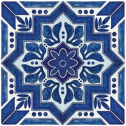 "Floor Adorn Adhesive Decorative and Removable Vinyl Floor Tiles, Dark Blue Moroccan, 12""x12"", Set of 36 Tiles"