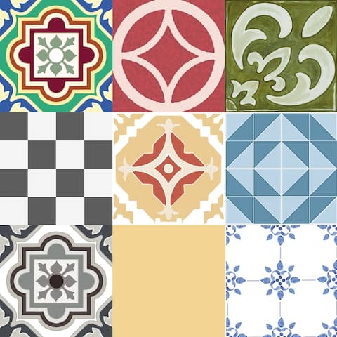 "Floor Adorn Adhesive Decorative and Removable Vinyl Floor Tiles, Assorted Tiles, 12""x12"", Set of 36 Tiles"