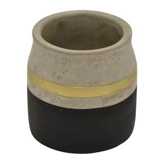 "Three Hands 5.25 "" Flower Pot - Black & Gold - Black"