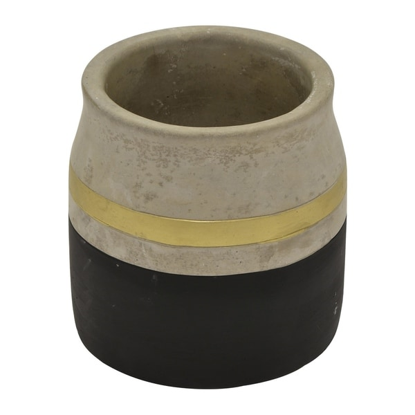 "Three Hands 5.25 "" Flower Pot - Black & Gold - Black"