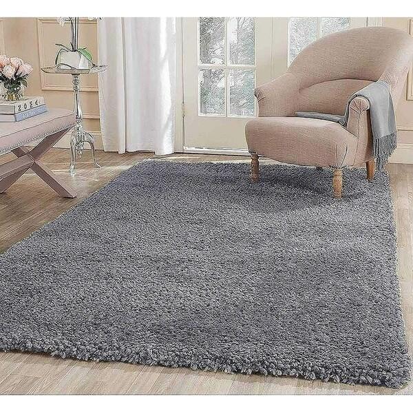 Popcorn Area Rug Carpet Solid Shag Silver - 5' x 7'