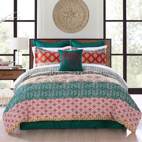 The Curated Nomad La Boheme Striped 7-piece Comforter Set