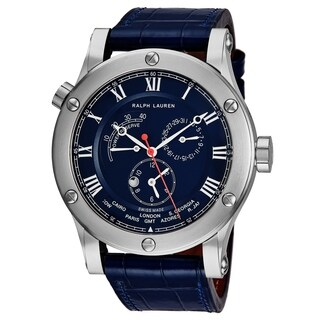 Ralph Lauren Men's RLR0210700 'Sporting' Blue Dial Blue Leather Strap Power Reserve Automatic Mechanical Watch