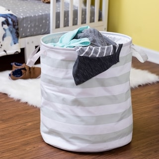 Honey-Can-Do Grey Stripe Hamper