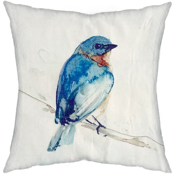 Mercana Blue Robin Decorative Pillow (Cover Only)