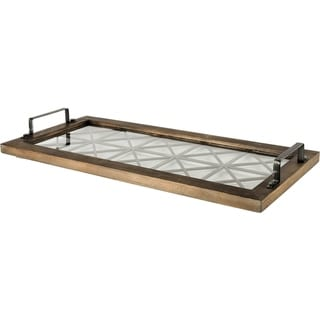 Mercana Ellingson Brown Wood/Metal/Glass Tray