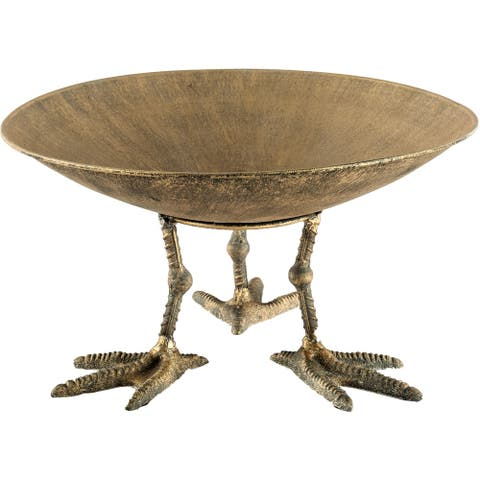 Mercana Chadwick II Medium Gold Metal Webbed Feet Bowl - 12.8L x 12.8W x 7.0H
