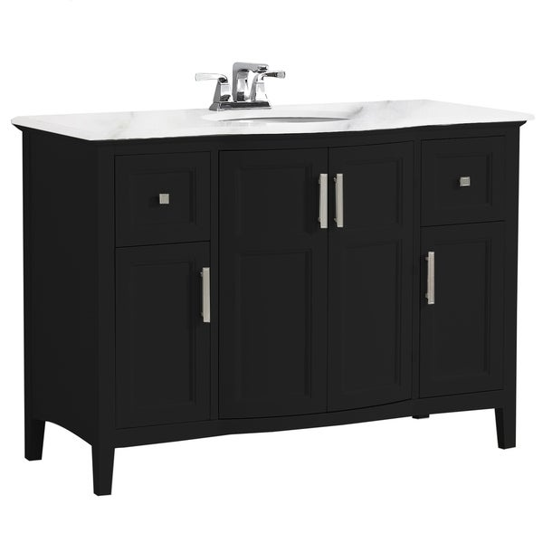 WYNDENHALL Salem 48 inch Contemporary Bath Vanity with Bombay White Engineered Marble Extra Thick Top