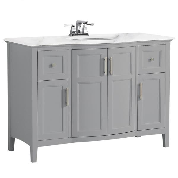 Wyndenhall Salem 36 Inch Contemporary Bath Vanity In Warm Grey With Bombay White Engineered Marble Extra Thick Top Overstock 24203657 49 Inch Wide