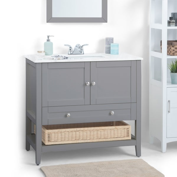 Wyndenhall Belmont 36 Inch Contemporary Bath Vanity In Warm Grey With White Engineered Marble Extra Thick Top