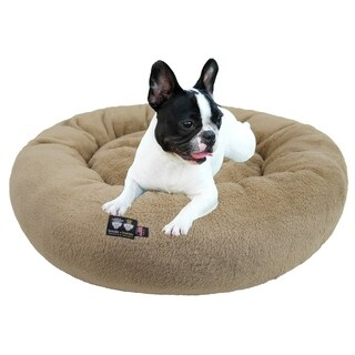 Ultra Plush Deluxe Comfort Pet Dog & Cat Taupe Snuggle Bed- Machine Washable, Made in the USA
