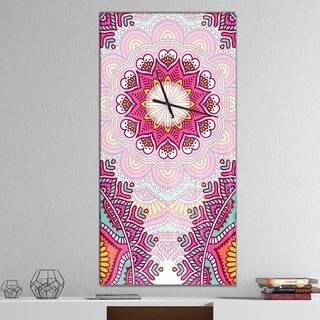 Designart 'Ethnical Pink Floral Mandala' Oversized Contemporary Wall CLock