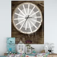 Designart 'Sepia Country Wagon Wheel Clock' Oversized Farmhouse Metal Clock