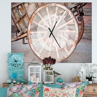 Designart 'Spanish Wooden Country Carriage Wheel' Oversized Farmhouse Wall CLock