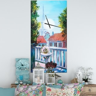 Designart 'Paris Eiffel Tower' Oversized Landscapes Wall CLock