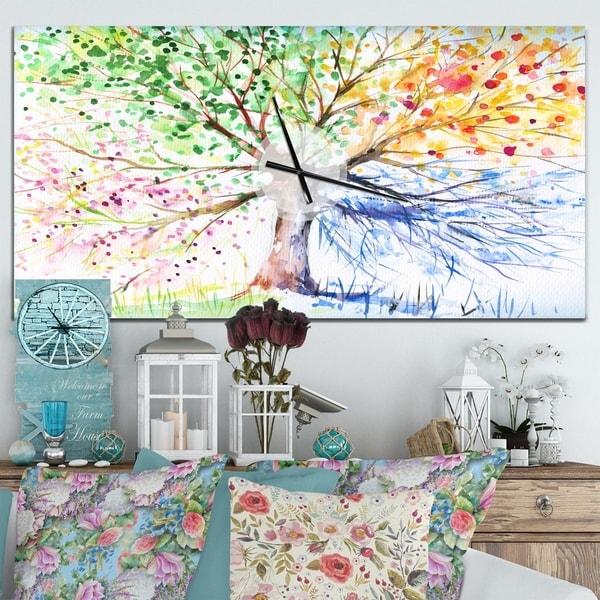 Designart 'Four Seasons Tree' Oversized Floral Wall CLock
